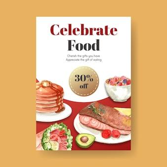Affiche avec la conception de concept de la journée mondiale de l'alimentation pour la publicité et l'aquarelle de dépliant
