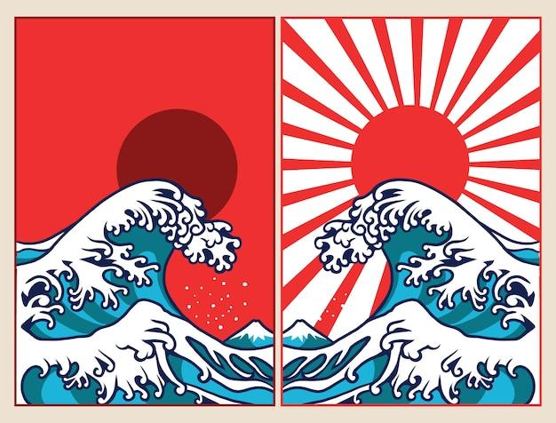 Affiche de conception illustration vague japon