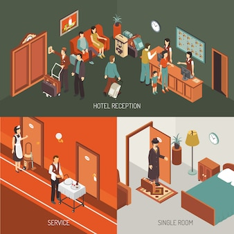 Affiche de conception isométrique de concept d'hôtel