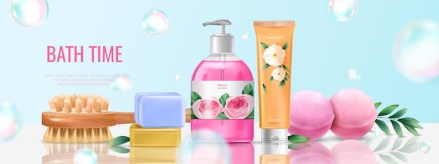 Affiche de conception de lavage de bain avec illustration réaliste de savon et de peigne