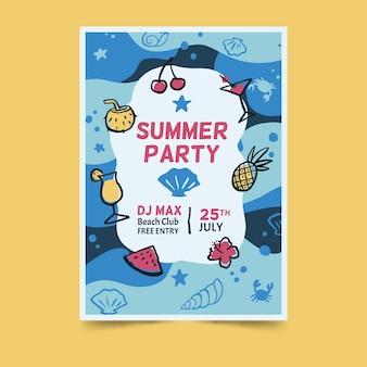Affiche de conception sous-marine de fête d'été