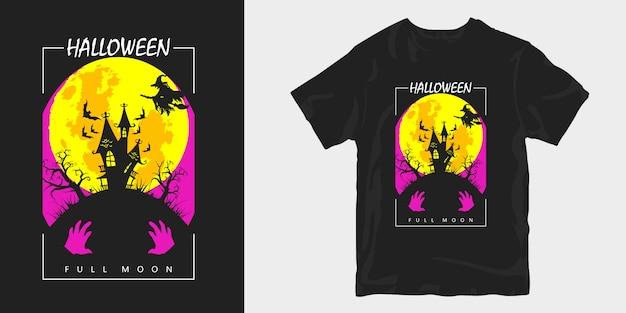 Affiche de conception de t-shirt de silhouettes de pleine lune de halloween