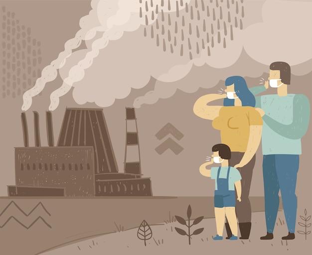 Affiche conceptuelle de la pollution atmosphérique. la famille respire l'air sale d'une usine de fumage.