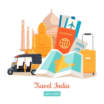 Affiche conceptuelle de travel india