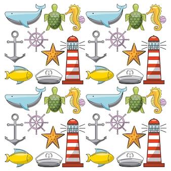 Affiche conceptuelle de la vie marine