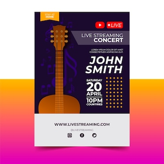 Affiche de concert de musique en streaming en direct avec guitare