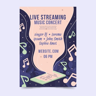 Affiche de concert de musique en streaming en direct