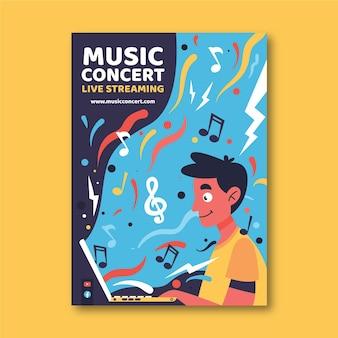 Affiche de concert de musique en streaming en direct