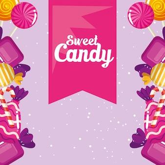 Affiche de confiserie avec cadre caramels