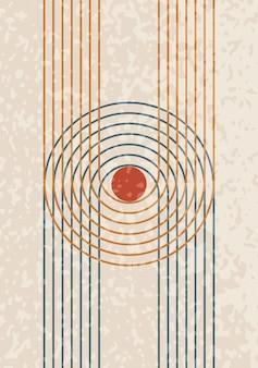 Affiche contemporaine abstraite du milieu du siècle avec des formes géométriques et de la texture. conception pour papier peint, arrière-plan, décoration murale, couverture, impression, carte. art minimaliste boho moderne. illustration vectorielle.