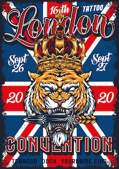 Affiche de convention de tatouage vintage à londres