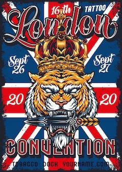 Affiche de convention de tatouage vintage à londres