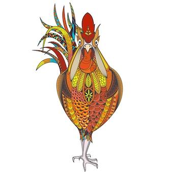 Affiche avec un coq à motifs zenart