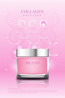 Affiche cosmétique crème rose collagène sérum