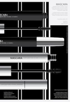 Affiche cosmétique mascara avec emballage