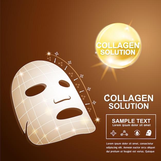 Affiche cosmétique de soins de la peau de concept de fond de sérum de collagène et de vitamine.