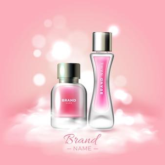 Affiche de cosmétiques avec essence et crème pour le visage