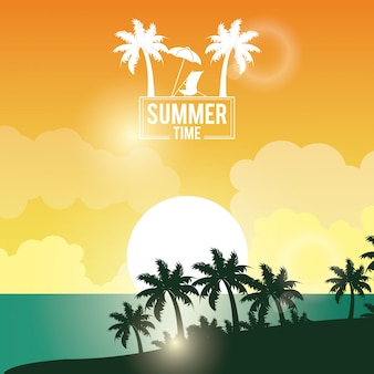 Affiche coucher de soleil paysage de palmiers sur la plage avec logo été