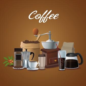 Affiche couleur des éléments de préparation du café et contenant pour l'emballage