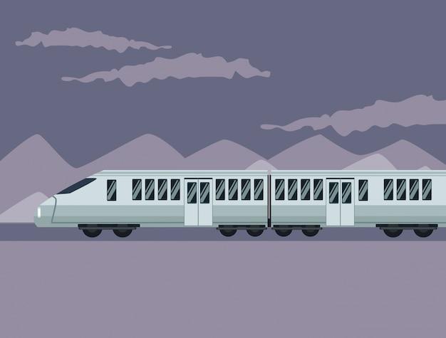 Affiche de couleur paysage de montagne avec le train moderne dans les chemins de fer