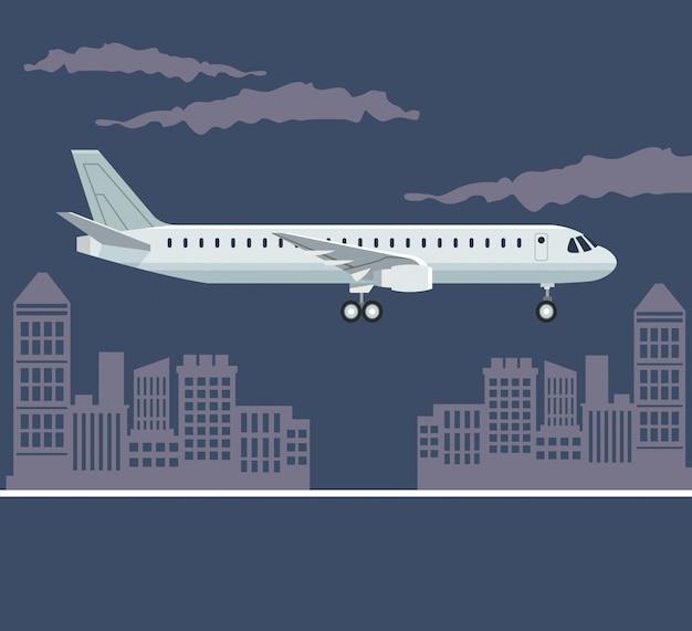 Affiche de la couleur paysage de la ville avec l'avion en vol