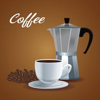 Affiche de couleur pile haricots et tasse en porcelaine avec pot métallique de café avec poignée