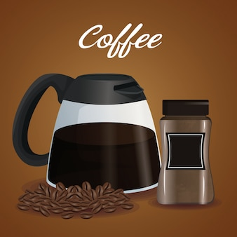 Affiche couleur pot en verre de café avec poignée et haricots avec récipient avec couvercle