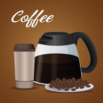 Affiche couleur pot en verre de café avec poignée et jetable pour les boissons chaudes avec des haricots