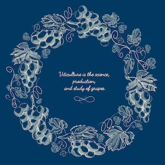 Affiche de couronne ronde naturelle de gravure abstraite avec des brindilles de raisin et inscription sur bleu