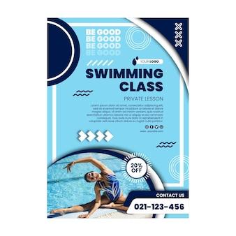 Affiche de cours de natation avec photo