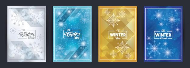 Affiche de couverture d'hiver avec des flocons de neige et une scène forestière
