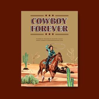Affiche de cow-boy avec des cowgirls, cactus