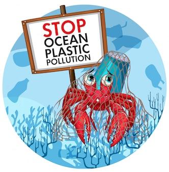 Affiche avec le crabe ermite ne tenant aucune pancarte en plastique
