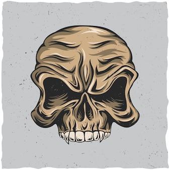 Affiche de crâne en colère avec illustration de couleurs beige et gris