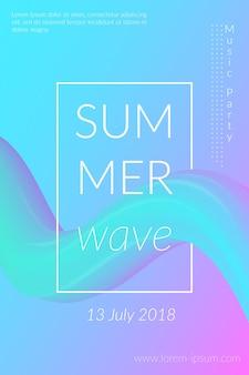 Affiche créative de vague d'été avec la conception de fond géométrique coloré abstrait rétro de forme pour la carte ...