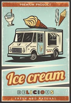 Affiche de crème glacée fraîche colorée vintage