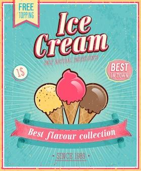 Affiche de crème glacée vintage