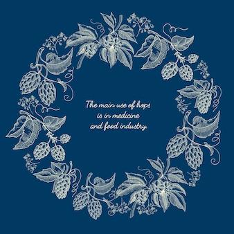 Affiche de croquis de couronne ronde florale abstraite