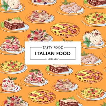 Affiche de la cuisine italienne avec des plats de la cuisine nationale