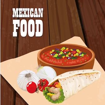 Affiche de cuisine mexicaine avec des burritos