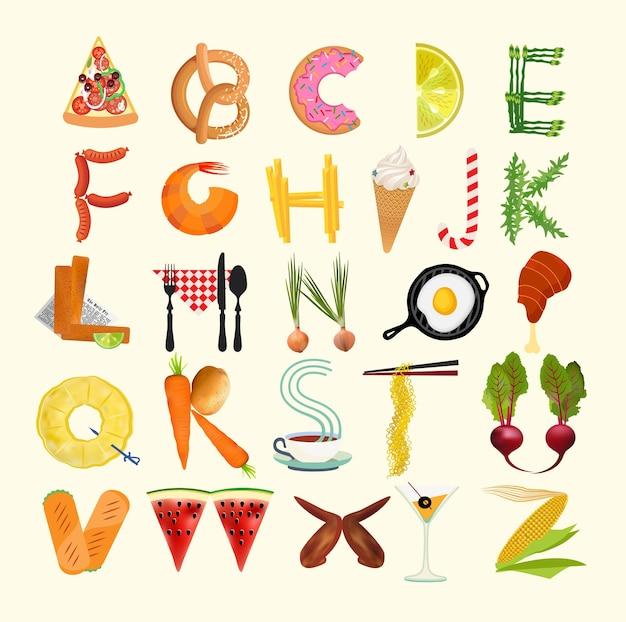 Affiche de cuisine de typographie. alphabet alimentaire. illustration vectorielle.
