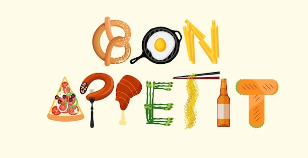 Affiche de cuisine de typographie. bon appétit. illustration vectorielle.
