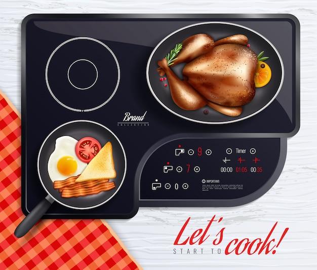 Affiche de cuisson de surfaces de table de cuisson