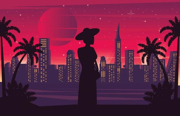 Affiche cyber punk avec femme en silhouette paysage