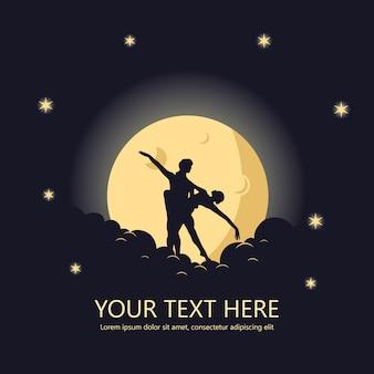 Affiche De Danse Romantique Sur La Lune, Fond, Bannière Vecteur Premium