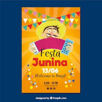 Affiche de Festa Junina avec un homme jouant
