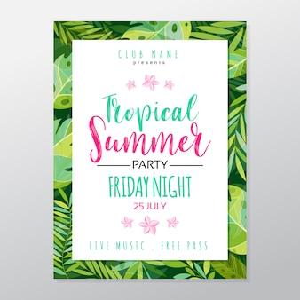 Affiche de fête tropicale de l'été