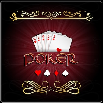 Affiche de jeu de poker avec carte coeurs royal