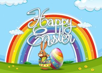 Affiche de Pâques Joyeux avec lapin et oeuf