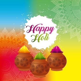 Affiche décorée de poudre de couleur holi heureuse